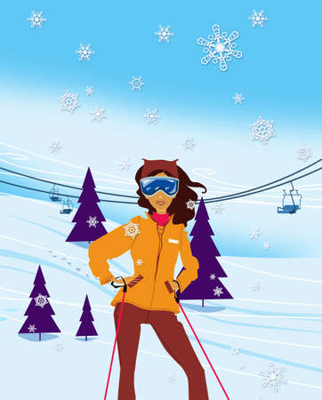 Winter vacation. Portrait of female skier standing on a ski slope at a sunny day against ski-lift on the background. Illustration Standard-Bild - 161210424