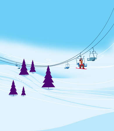 Winter vacation at the ski resort. Ski slope with ski lifts and Christmas trees on a blue sky background. Illustration Standard-Bild - 161210425