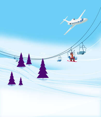 Winter vacation at the ski resort. Ski slope with ski lifts and Christmas trees on a blue sky background. A passenger airliner in a bend. Illustration Standard-Bild - 161210426