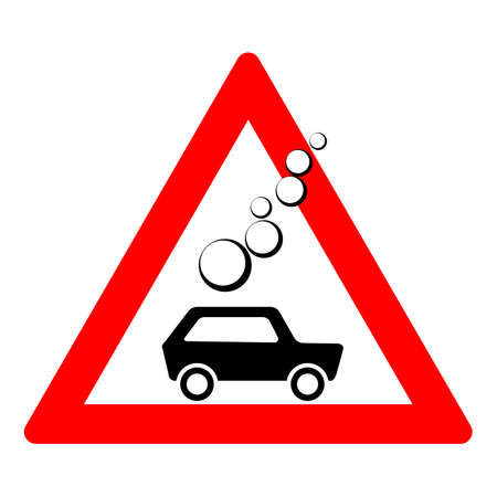 Road sign of rock slide. Rock fall warning sign. Red triangle and silhouette of a black car. Vector illustration Standard-Bild - 161210432