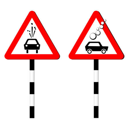 Road sign of rock slide. Rock fall warning sign. Red triangle on a striped pole and the silhouette of a black car. Vector illustration