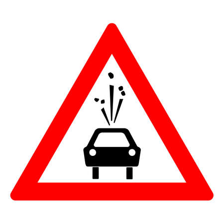 Road sign of rock slide. Rock fall warning sign. Red triangle and silhouette of a black car. Vector illustration Standard-Bild - 161210434