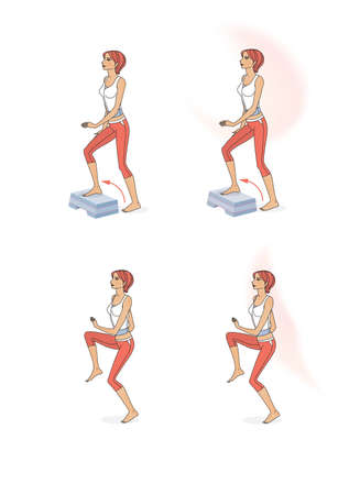 Girl trains the muscles of the body and legs. Girl stand, lies, sits, wrung and jump. Isolated on white background Standard-Bild - 161210435