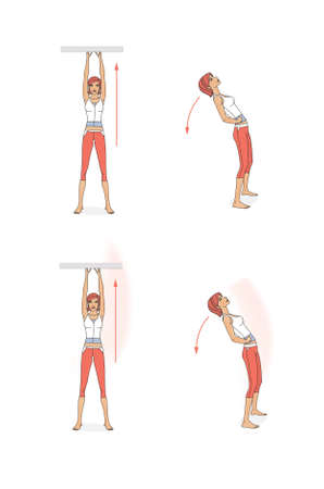 Girl trains the muscles of the body and legs. Girl stand, lies, sits, wrung and jump. Isolated on white background Standard-Bild - 161210437