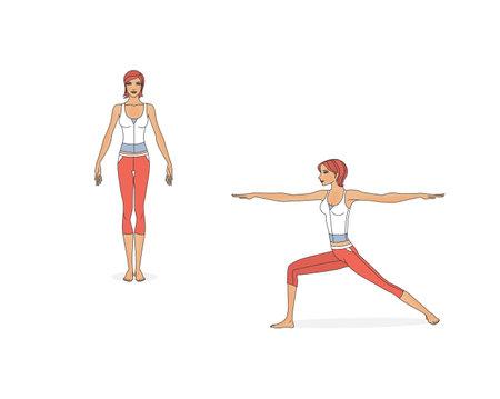Asanas yoga pose women. Isolated on white background Standard-Bild