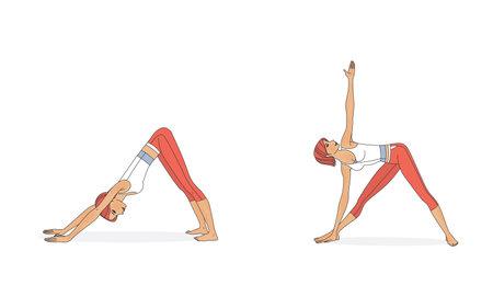 Asanas yoga pose women. Isolated on white background Standard-Bild - 161210443
