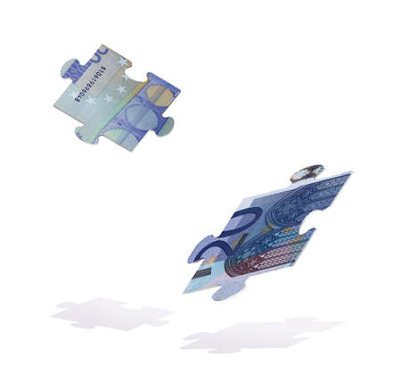 Fragments of a puzzle of euro bills falling down. The crisis. 3d illustration Standard-Bild - 161210444