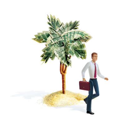 Man with a briefcase leaves the paradise island. Palm tree with leaves from dollar bills. 3d illustration