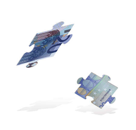 Fragments of a puzzle of euro bills falling down. The crisis. 3d illustration Standard-Bild - 161210449