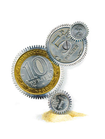 Fragment of the clockwork from the coins of the Bank of Russia. 3d illustration