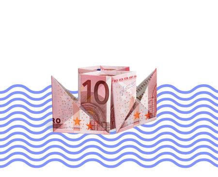 Paper boat from the bills of 10 euros, 3D illustration, on a wave background Standard-Bild