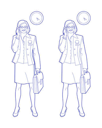 Business woman with a briefcase in hand talking on the phone. Linear drawing, vector illustration Standard-Bild - 161210452