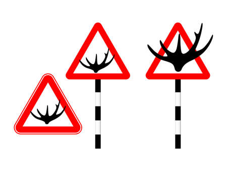 Caution deer on the road. Silhouette sign. Vector illustration. Humor. Horn road sign in red triangle Standard-Bild - 161210453