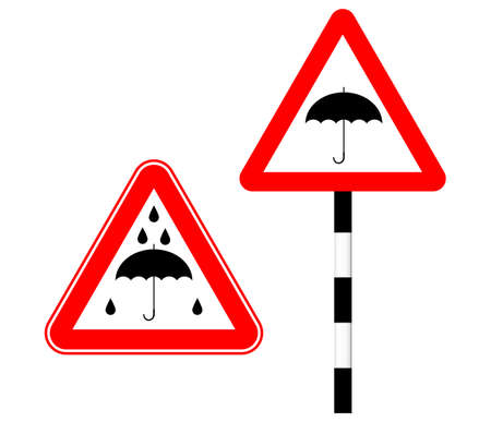 Caution rain slippery road. Silhouette sign. Vector illustration. Humor. Road sign umbrella in red triangle Standard-Bild - 161210456
