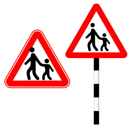 Beware of a pedestrian with a child. Silhouette sign. Vector illustration. Humor. Road sign in red triangle Standard-Bild - 161210457