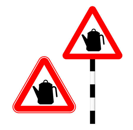 Caution kettle on the road. Silhouette sign. Vector illustration. Humor. Kettle road sign in red triangle Illustration