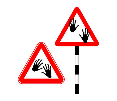 Watch out for zombies. Silhouette sign. Vector illustration. Humor. Road sign hand in red triangle Standard-Bild - 161210459