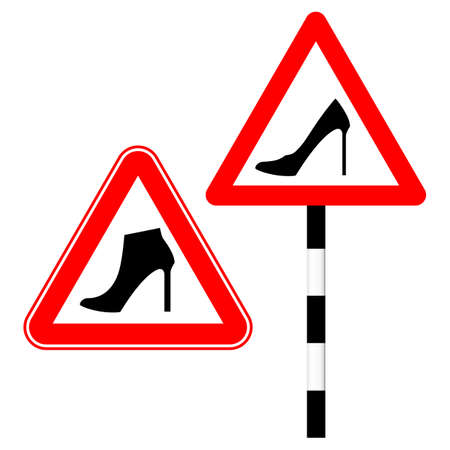 Humorous sign. Woman driving. Red triangle and womens shoes with high heels. Vector illustration Standard-Bild - 161210460