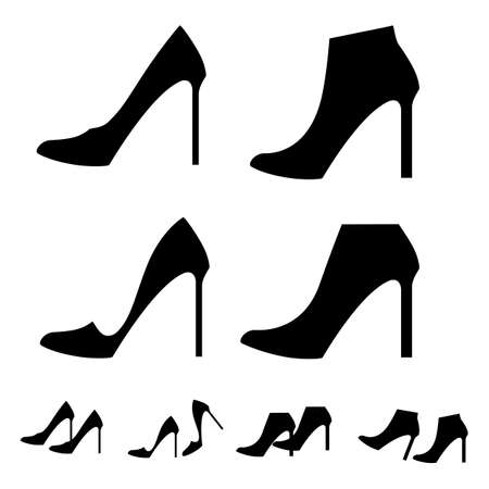 4 pairs of perfect high heels for women. Silhouette sign. Vector illustration