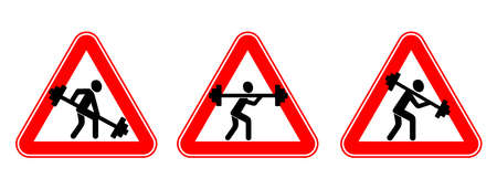 Weightlifter with a barbell. Fitness and bodybuilding. Silhouette sign. Vector illustration. Humor. Road sign in red triangle
