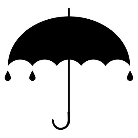 Black umbrella. Silhouette sign. Vector illustration. Standard-Bild - 161210463