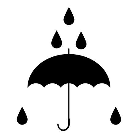 Black umbrella. Silhouette sign. Vector illustration. Standard-Bild - 161210464