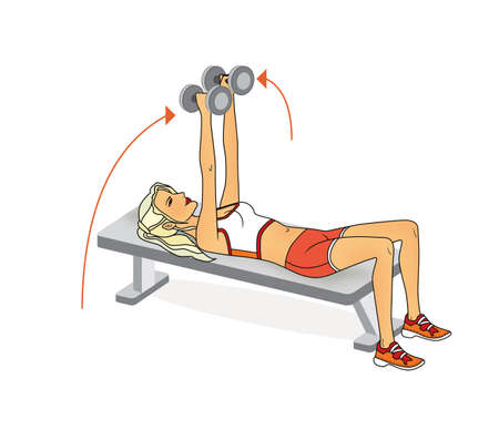 Girl is training at home. Stretching the muscles of the arms and spine. Exercises with dumbbells, barbell. Isolated on a white background Standard-Bild - 161481757