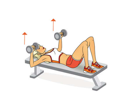 Girl is training at home. Stretching the muscles of the arms and spine. Exercises with dumbbells, barbell. Isolated on a white background