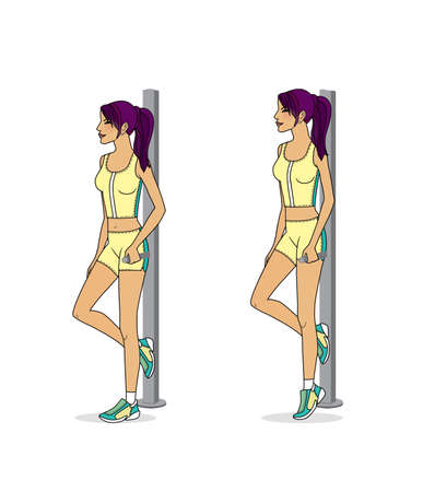 Girl is training at home. Stretching the muscles of the legs and spine. Exercises and gymnastics. Isolated on a white background Standard-Bild