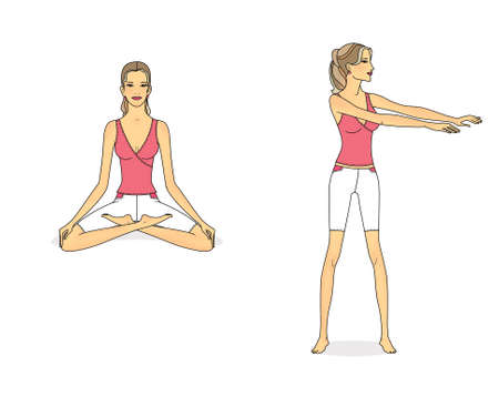 Girl is training at home. Stretching the muscles of the legs and spine. Exercises and gymnastics. Isolated on a white background Standard-Bild - 161481765