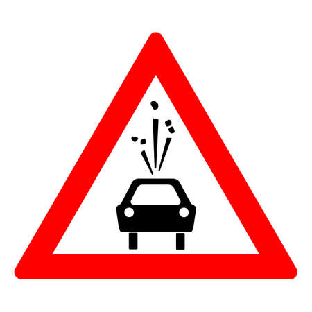 Road sign of rock slide. Rock fall warning sign. Red triangle and silhouette of a black car illustration Standard-Bild - 161481770