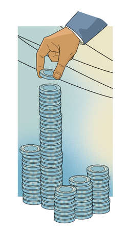 Man's hand lays down the columns of blue chips. Investments. Illustration Stock fotó