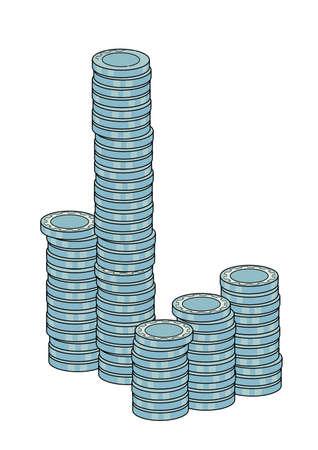 Columns of blue chips. Investment and risk. Illustration Stock fotó