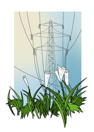 Electricity bonds and shares are growing. Investment and risk. Illustration Stock fotó