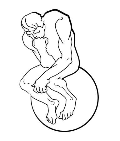 Man is sitting on the ball. Man props his head with his hand. Thoughtful thinker. Sign. Vector illustration. Vecteurs