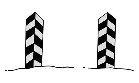 Striped boundary pillar. State border. Humorous illustration