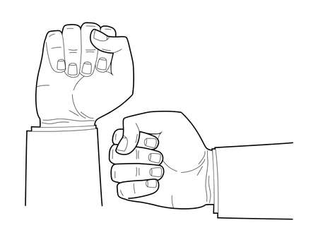 Men hand linear drawing. Ð¡lenched fist. Vector illustration