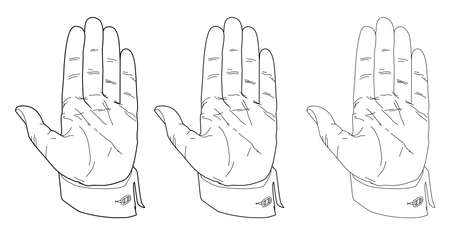 Set Man's hand with an open palm. Shirt with cufflink, line drawing. Vector illustration