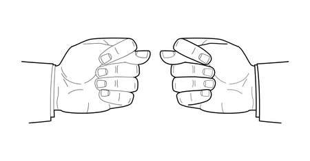 Men hand linear drawing. Fist in Fig gesture. Vector illustration
