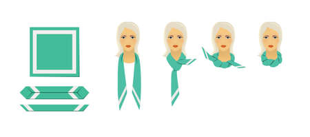 Manual for tying a scarf. Step-by-step illustration of a blond woman tying a scarf.