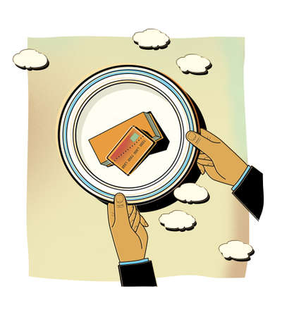 Money on a plate with a blue border. A man holds a plate of money in his hands. Income and dividends, humorous illustration