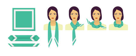 Manual for tying a scarf. Step-by-step illustration of a brunette woman tying a scarf.