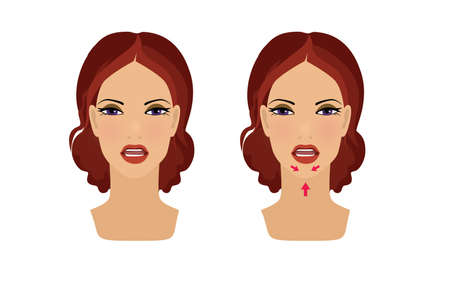 Exercises for beauty and youthfulness of the face and neck skin. Remove wrinkles. The girl trains the muscles of the face. Illustration isolated on white background Banque d'images