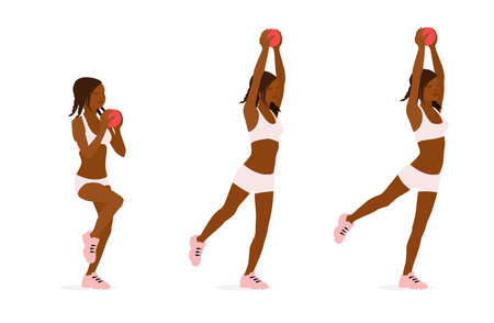 Girl trains balance with the ball in her hands. Illustration isolated on white background