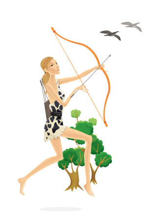 Blond primitive hunter in the savannah. A girl in fur clothes with a bow in her hands hunts birds. Illustration isolated on white background