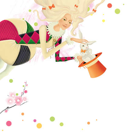 Blonde magician in a medieval costume takes a white rabbit out of a hat. Jester. Illustration isolated on white background Banque d'images