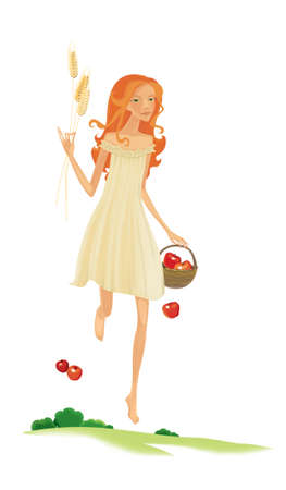 Blonde villager with a basket of apples and ears of wheat in her hands. Harvesting. Illustration isolated on white background Banque d'images