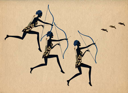 Primitive bird hunting. African woman with bow and arrow. Stylized drawing on a textured background. Illustration. Banque d'images