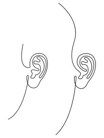Human left ear set, simple linear drawing, vector illustration