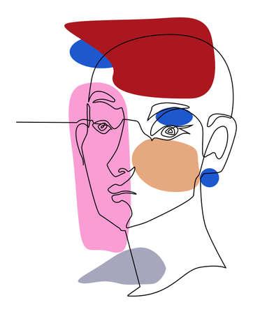 One line drawing face. Modern single line art contour portrait, contour. Vector illustration